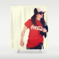 coca cola Shower Curtains featuring Cola Girl  by ConnorEden