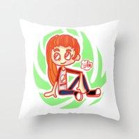 sport Throw Pillows featuring Sport Girl by Glopesfirestar