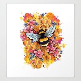 Neo Traditional Bee Art Print
