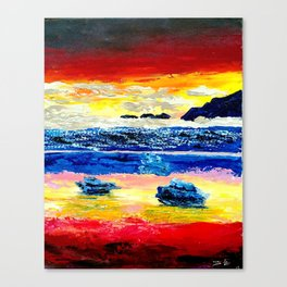 Twilight glow above dark mountains, Crimson Sea sunset around  small islets  of sirens Canvas Print
