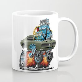 Classic American Muscle Car Hot Rod Cartoon Vector Illustration Coffee Mug