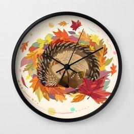 Hedgehog in Autumn Leaves Wall Clock