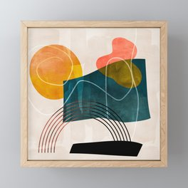 mid century shapes abstract painting Framed Mini Art Print