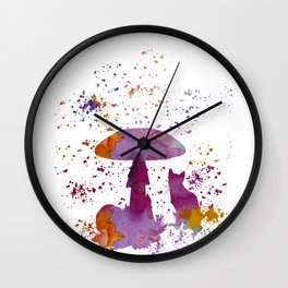 Cat and mushroom Wall Clock