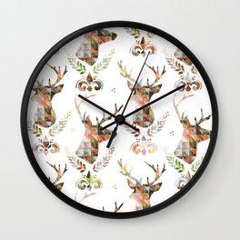 watercolor pattern deer head Wall Clock