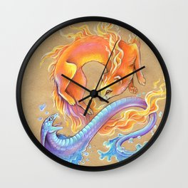 Fire mongoose and water cobra Wall Clock
