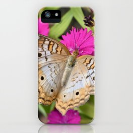 White Peacock Butterfly on Flowers iPhone Case