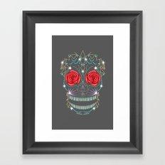 Abstract Rose Sugar Skull Framed Art Print