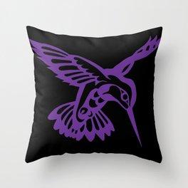 Hummingbird purple on black Throw Pillow