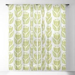 Mid Century Modern Flower Pattern Chartreuse 331 Sheer Curtain