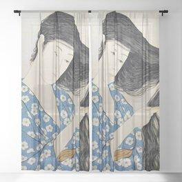 12,000pixel-500dpi - Hashiguchi Goyo - Combing Hair woman Sheer Curtain