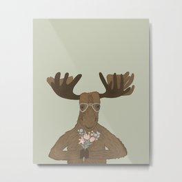 Date Night Moose Metal Print
