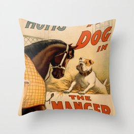 Vintage poster - A Dog in the Manger Throw Pillow