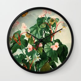 Pink Floral The Oblique-Leaved Begonias : Temple of Flora Wall Clock