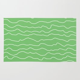 Green with White Squiggly Lines Rug
