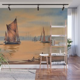 Barges On The River Thames Greenwich London Wall Mural