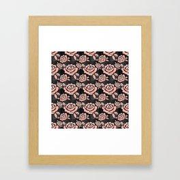 Pink Roses on a Black Backround Framed Art Print