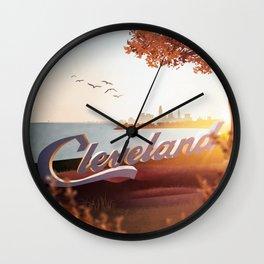 Cleveland Sunset Wall Clock