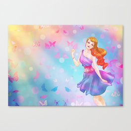 Colorful Butterfly Girl Canvas Print