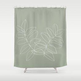 Boho Sage Green, Decor, Line Art, Botanical Leaves Shower Curtain