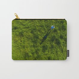 vertical drone shot of pilot in green grass Carry-All Pouch