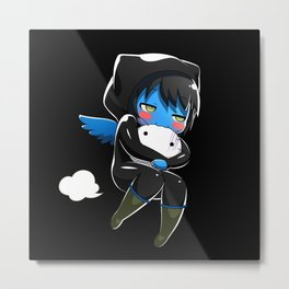 Fuzzy Chibi Luc (Expression 2) w/ Black Background Metal Print