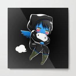 Fuzzy Chibi Luc (Expression 2) w/ Black Background Metal Print