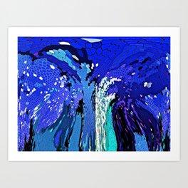 TREE ABSTRACT BLUE COBALT Art Print