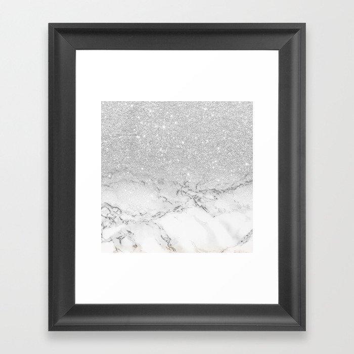 Modern faux grey silver glitter ombre white marble Gerahmter Kunstdruck