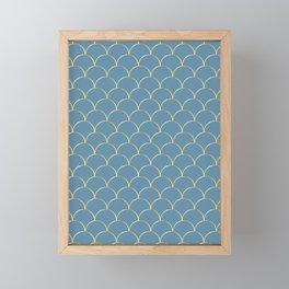 Gold Lined Faded Blue Art Deco Curves Framed Mini Art Print
