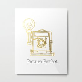 Gold Vintage Camera Picture Perfect  Metal Print