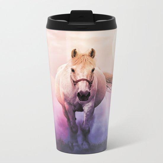 Romantic mystery horse illustration with full moon Metal Travel Mug