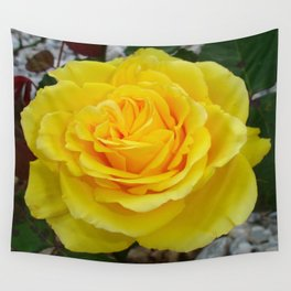 Head On View Of A Yellow Rose With Garden Background Wall Tapestry