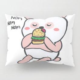 Pink Panda eating Burger Pillow Sham
