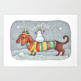 Dachshund in a suit with a snowman - New Year Art Print