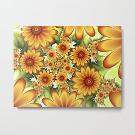 A Floral Dream Of Summer, Fractals Art Metal Print