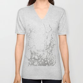 Gray white abstract modern marble pattern Unisex V-Neck