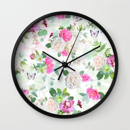 Floral Wedding Bliss Wall Clock