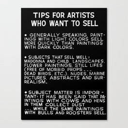 Tips For Artists in Black Canvas Print
