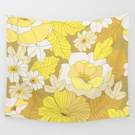 Yellow, Ivory & Brown Retro Flowers Wall Tapestry