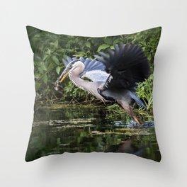 Heron Take-off Throw Pillow