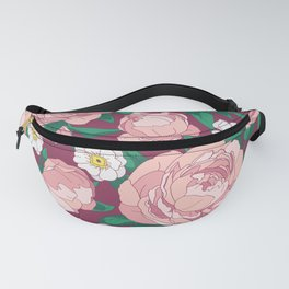 Bouquet of pink peonies. Illustration. Fanny Pack