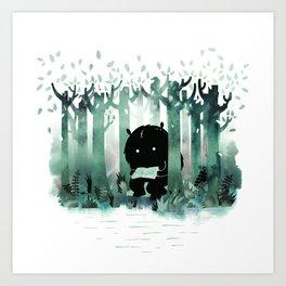 A Quiet Spot (in green) Art Print
