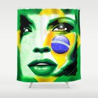 brazil Shower Curtains featuring Brazil Flag Girl Portrait by BluedarkArt