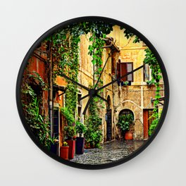 Vintage street in Rome, after Rain Wall Clock