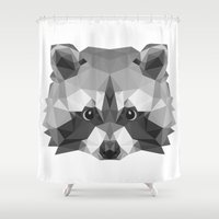 raccoon Shower Curtains featuring Raccoon by Carma Zoe