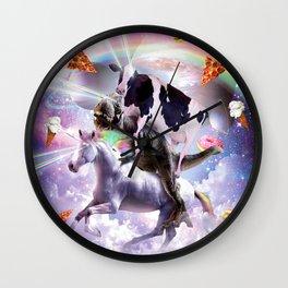 Laser Eyes Space Cow On Dinosaur Unicorn - Rainbow Wall Clock
