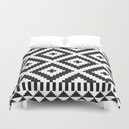 Black and White Geometric Tribal Pattern Print Duvet Cover
