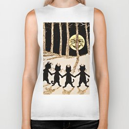 Cats & a Full Moon-Louis Wain Black Cats Biker Tank