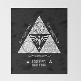 Legend of Zelda Kingdom of Hyrule Crest Letterpress Vector Art Throw Blanket